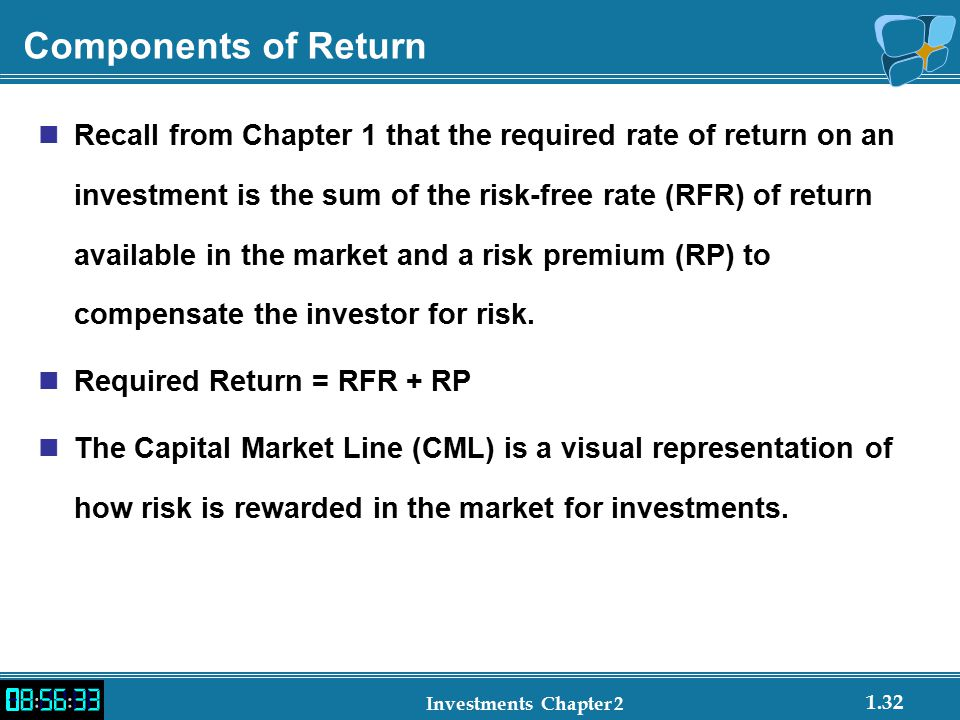 1.32 Investments Chapter 2 Components of Return Recall from Chapter 1 that the required rate of return on an investment is the sum of the risk-free rate (RFR) of return available in the market and a risk premium (RP) to compensate the investor for risk.