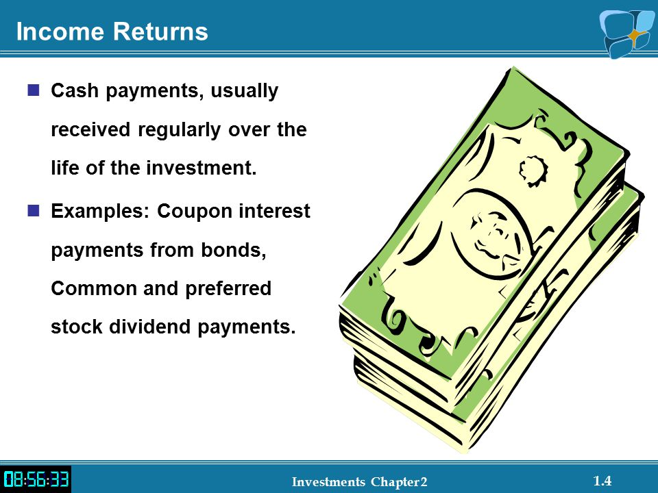 1.4 Investments Chapter 2 Income Returns Cash payments, usually received regularly over the life of the investment.