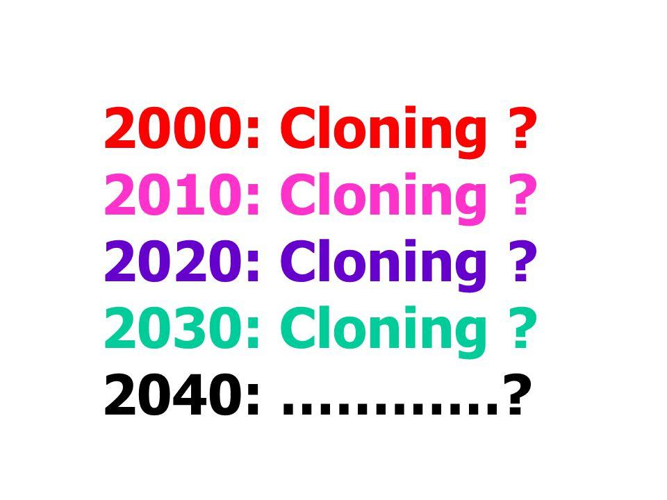 2000: Cloning ? 2010: Cloning ? 2020: Cloning ? 2030: Cloning ? 2040: …………?