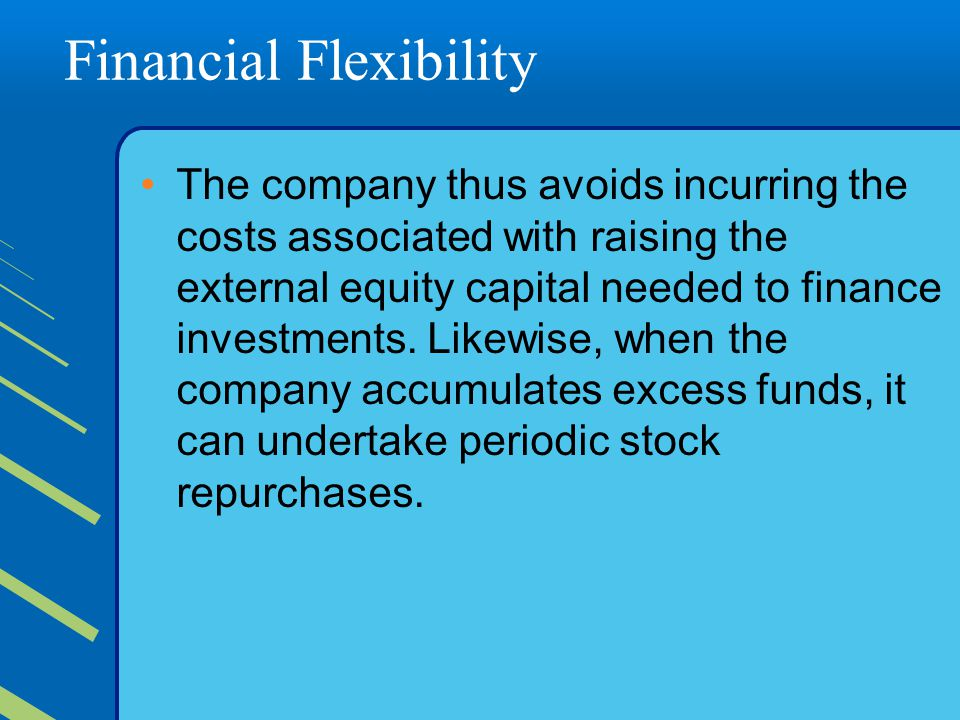 Financial Flexibility The company thus avoids incurring the costs associated with raising the external equity capital needed to finance investments.