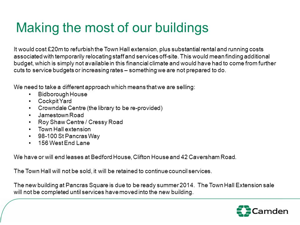 Making the most of our buildings By reviewing the use and ownership of all our buildings we can: transform how we deliver services and the way that we work in the future be more innovative in the way we shape and deliver services which are 'right first time' achieve a smaller, more effective, efficient and sustainable corporate office portfolio.