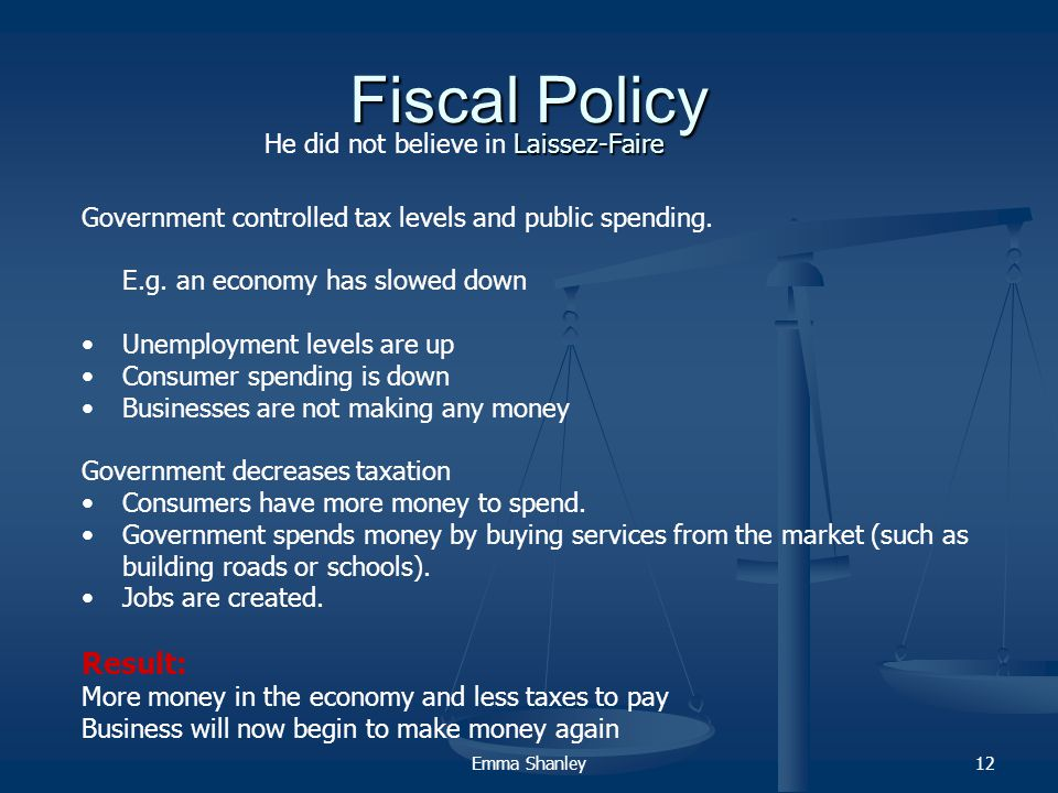 Emma Shanley12 Fiscal Policy Government controlled tax levels and public spending.