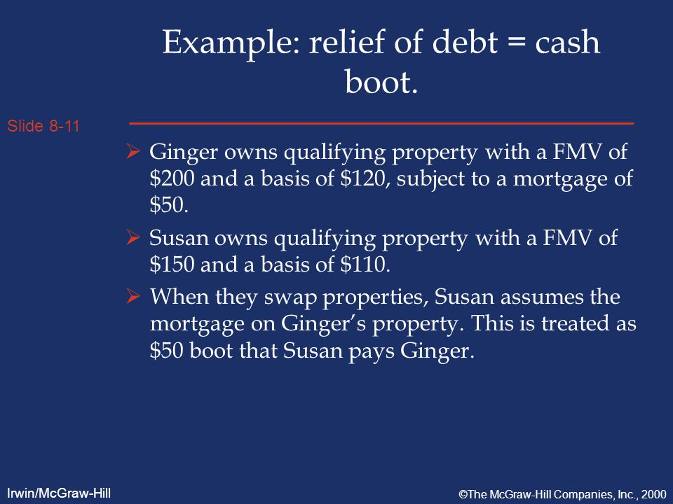 Slide 8-11 Irwin/McGraw-Hill ©The McGraw-Hill Companies, Inc., 2000 Example: relief of debt = cash boot.