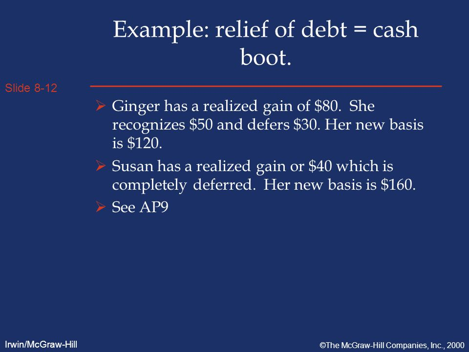 Slide 8-12 Irwin/McGraw-Hill ©The McGraw-Hill Companies, Inc., 2000 Example: relief of debt = cash boot.