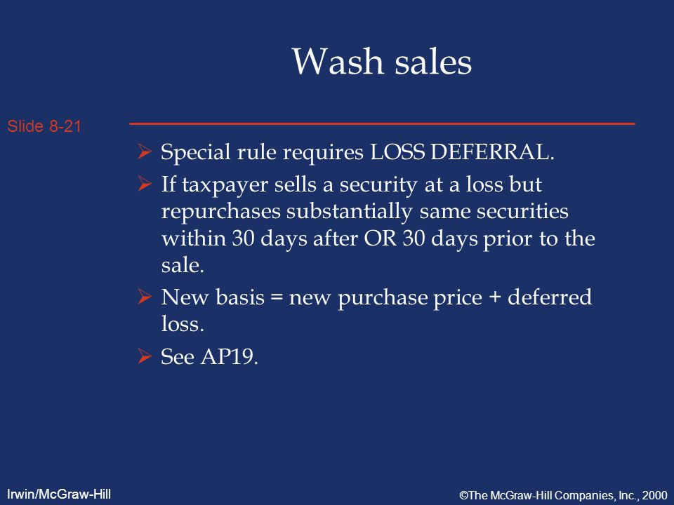 Slide 8-21 Irwin/McGraw-Hill ©The McGraw-Hill Companies, Inc., 2000 Wash sales  Special rule requires LOSS DEFERRAL.