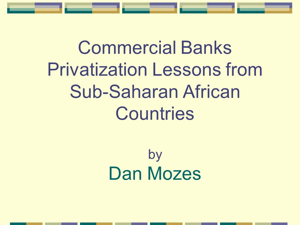 Three main issues: Why did parastatal banks exist and what when wrong with them Potential solutions – facilitating/detrimental conditions Lessons learned