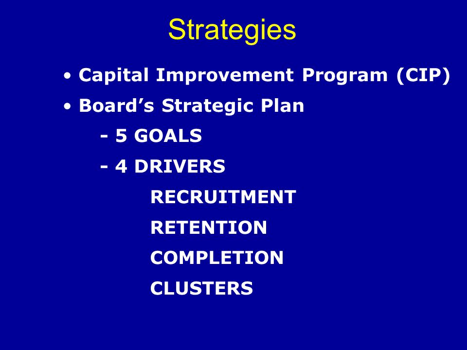 Strategies Capital Improvement Program (CIP) Board's Strategic Plan - 5 GOALS - 4 DRIVERS RECRUITMENT RETENTION COMPLETION CLUSTERS