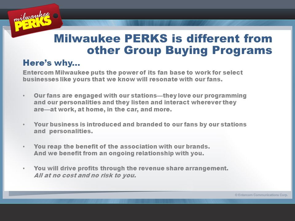 Milwaukee PERKS is different from other Group Buying Programs Here's why...