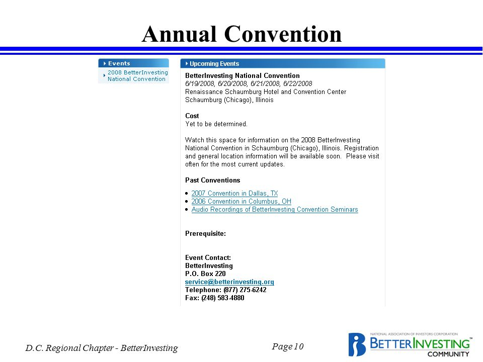 D.C. Regional Chapter - BetterInvesting Page 10 Annual Convention