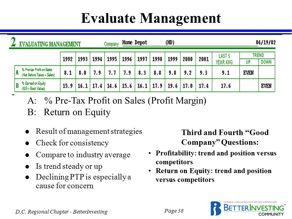D.C. Regional Chapter - BetterInvesting Page 38 l Result of management strategies l Check for consistency l Compare to industry average l Is trend ste