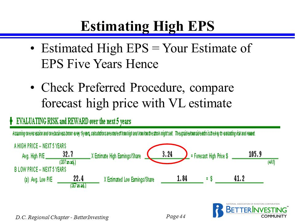D.C. Regional Chapter - BetterInvesting Page 44 Estimating High EPS Estimated High EPS = Your Estimate of EPS Five Years Hence Check Preferred Procedu