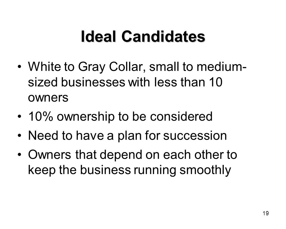 19 Ideal Candidates White to Gray Collar, small to medium- sized businesses with less than 10 owners 10% ownership to be considered Need to have a plan for succession Owners that depend on each other to keep the business running smoothly