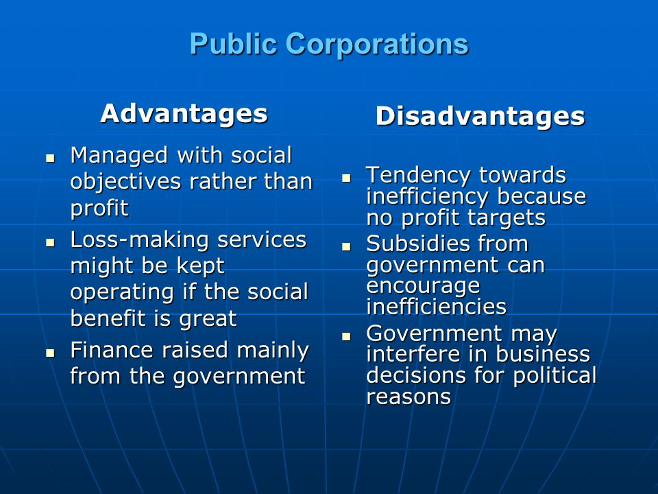 Public Corporations Advantages Managed with social objectives rather than profit Managed with social objectives rather than profit Loss-making service