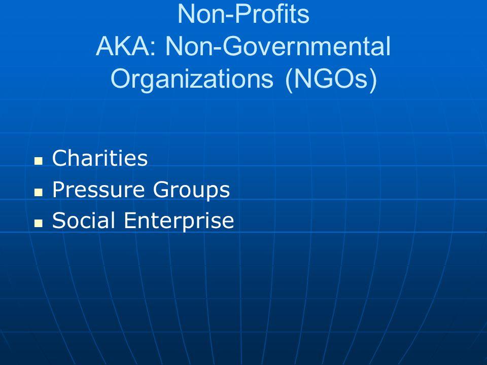 Non-Profits AKA: Non-Governmental Organizations (NGOs) Charities Pressure Groups Social Enterprise