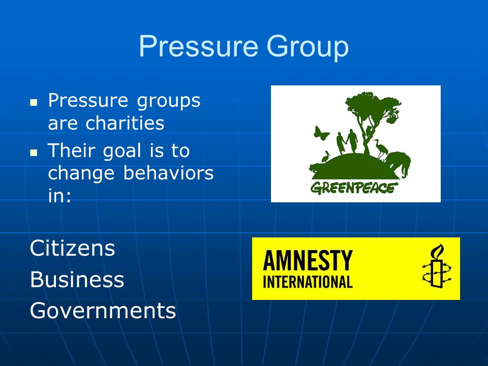 Pressure Group Pressure groups are charities Their goal is to change behaviors in: Citizens Business Governments