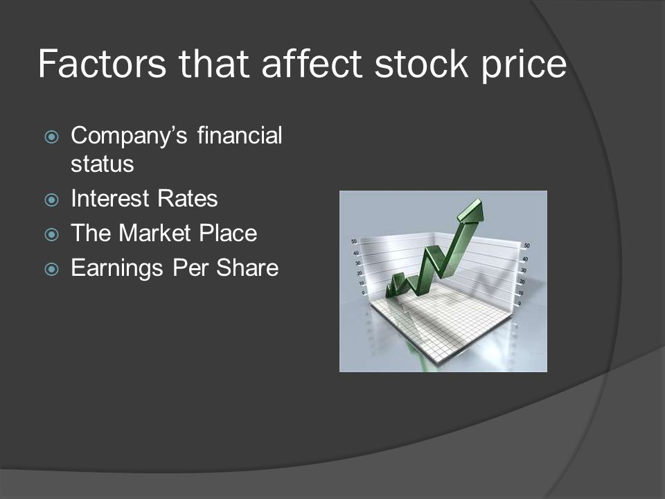 Factors that affect stock price  Company's financial status  Interest Rates  The Market Place  Earnings Per Share
