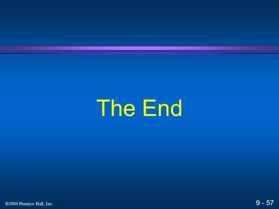 9 - 57 ©2004 Prentice Hall, Inc. The End