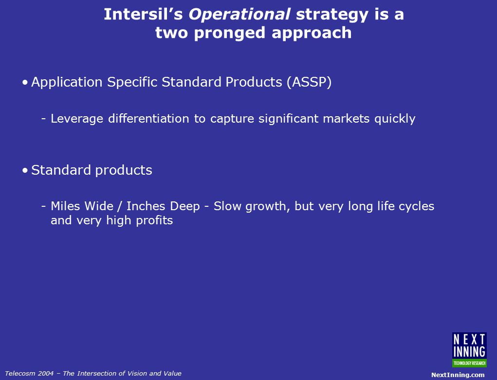 NextInning.com Telecosm 2004 – The Intersection of Vision and Value Intersil's Operational strategy is a two pronged approach Application Specific Standard Products (ASSP) -Leverage differentiation to capture significant markets quickly Standard products -Miles Wide / Inches Deep - Slow growth, but very long life cycles and very high profits