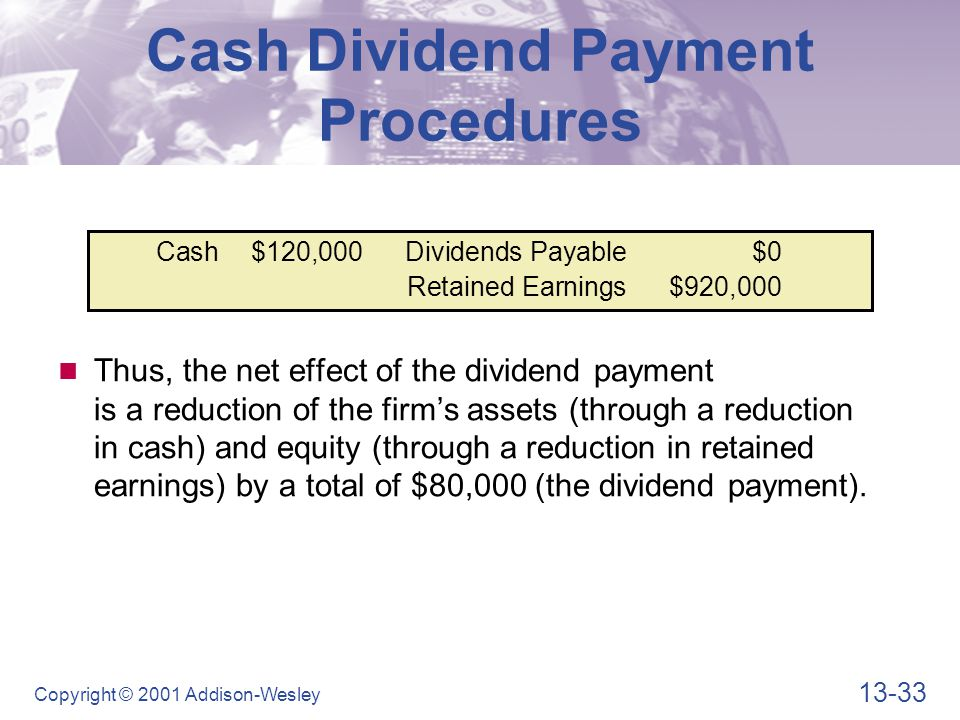 13-33 Copyright © 2001 Addison-Wesley Cash$120,000Dividends Payable$0 Retained Earnings$920,000 Cash Dividend Payment Procedures Thus, the net effect of the dividend payment is a reduction of the firm's assets (through a reduction in cash) and equity (through a reduction in retained earnings) by a total of $80,000 (the dividend payment).