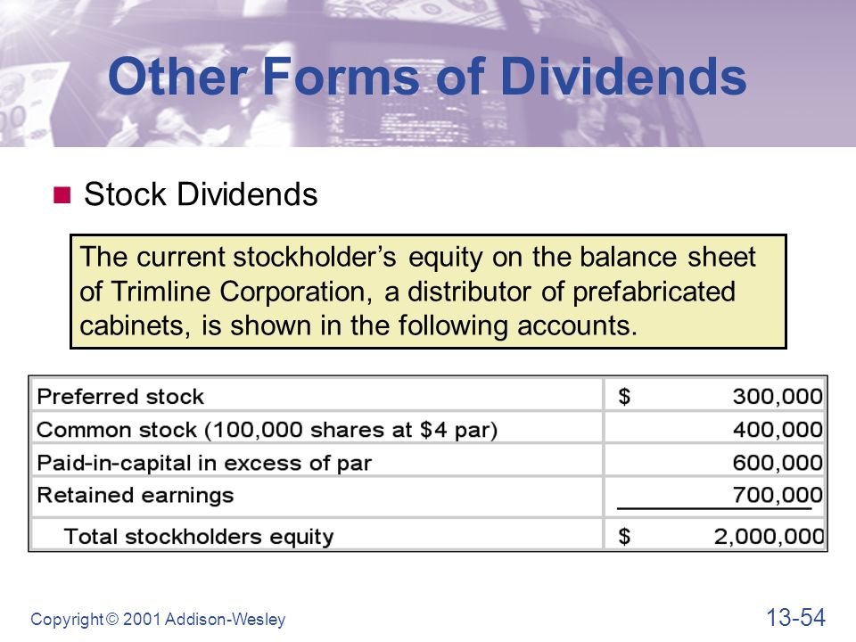 13-54 Copyright © 2001 Addison-Wesley The current stockholder's equity on the balance sheet of Trimline Corporation, a distributor of prefabricated cabinets, is shown in the following accounts.