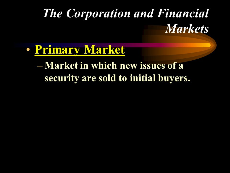 –Market in which new issues of a security are sold to initial buyers.