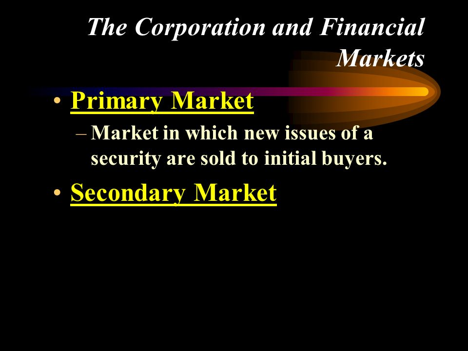 Primary Market –Market in which new issues of a security are sold to initial buyers.