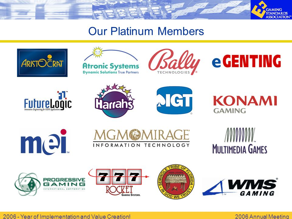 2006 - Year of Implementation and Value Creation!2006 Annual Meeting Our Platinum Members