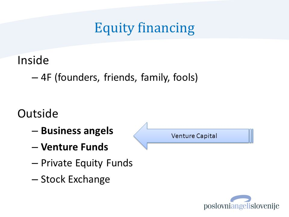 Equity financing Inside – 4F (founders, friends, family, fools) Outside – Business angels – Venture Funds – Private Equity Funds – Stock Exchange Venture Capital