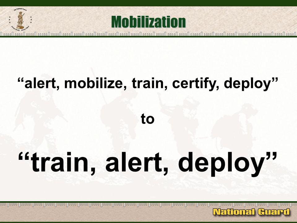 Mobilization alert, mobilize, train, certify, deploy to train, alert, deploy