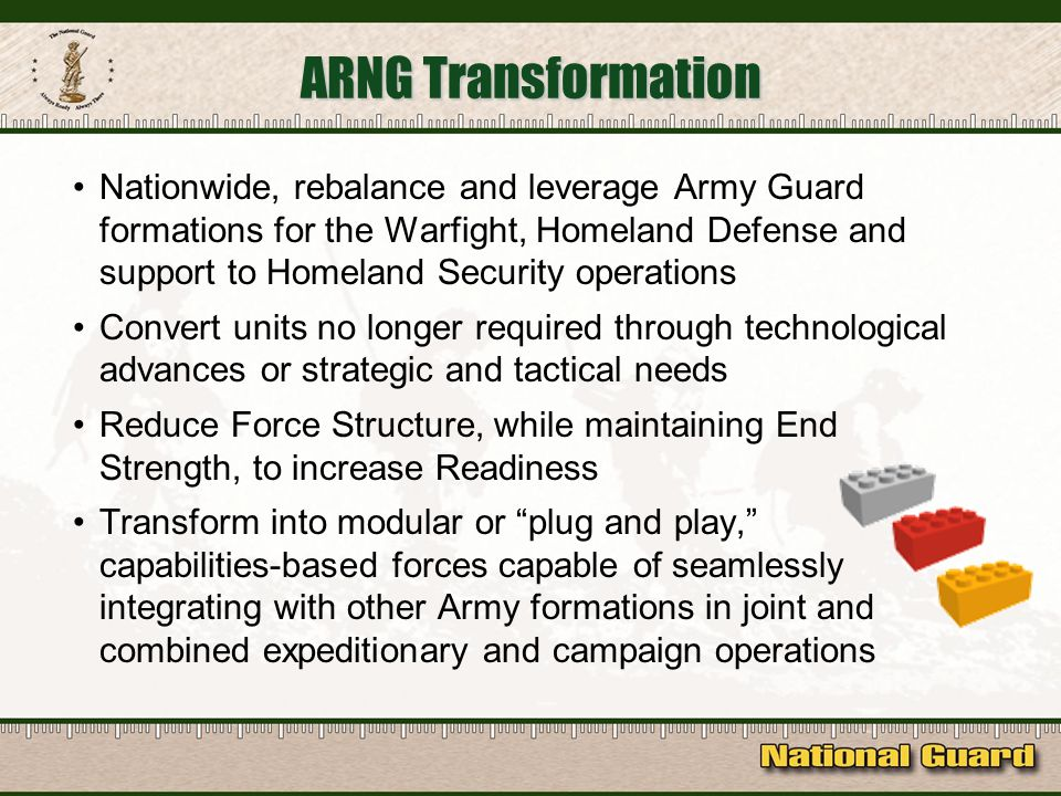 Nationwide, rebalance and leverage Army Guard formations for the Warfight, Homeland Defense and support to Homeland Security operations Convert units no longer required through technological advances or strategic and tactical needs Reduce Force Structure, while maintaining End Strength, to increase Readiness Transform into modular or plug and play, capabilities-based forces capable of seamlessly integrating with other Army formations in joint and combined expeditionary and campaign operations ARNG Transformation