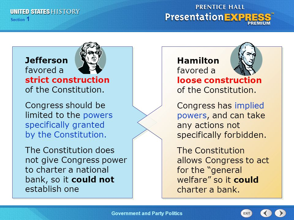 Chapter 25 Section 1 The Cold War Begins Section 1 Government and Party Politics Hamilton favored a loose construction of the Constitution. Congress h