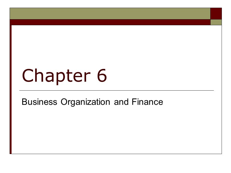 Chapter 6 Business Organization and Finance