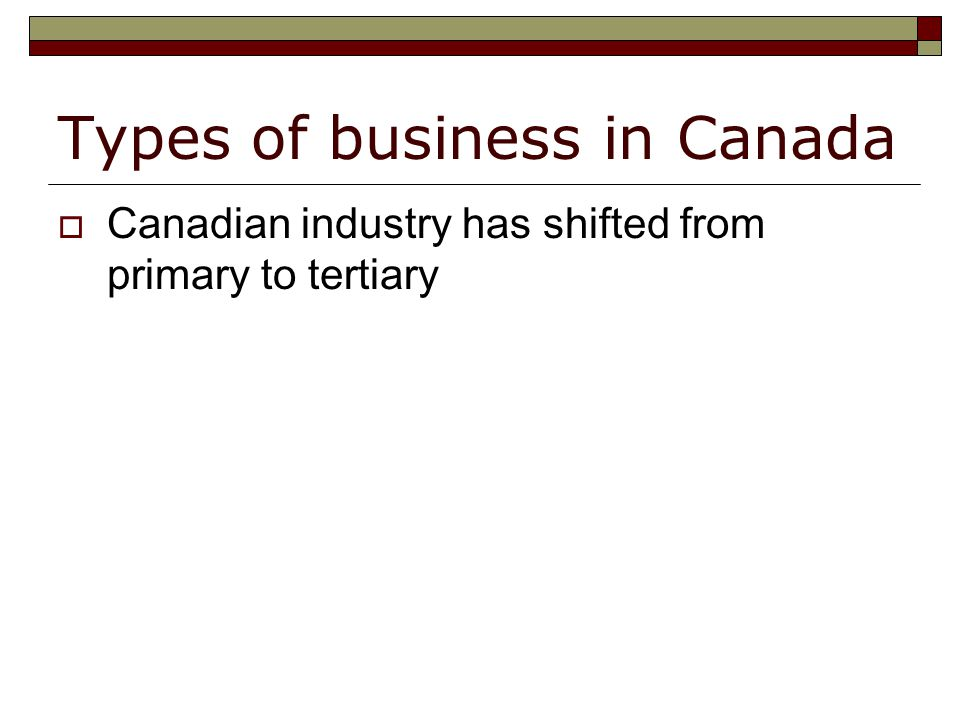 Types of business in Canada  Canadian industry has shifted from primary to tertiary