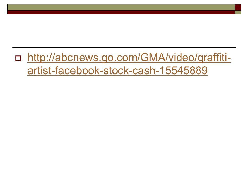  http://abcnews.go.com/GMA/video/graffiti- artist-facebook-stock-cash-15545889 http://abcnews.go.com/GMA/video/graffiti- artist-facebook-stock-cash-15545889