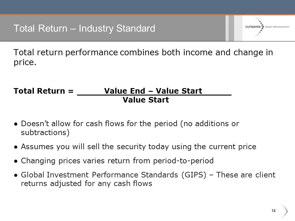 14 Total Return – Industry Standard Total return performance combines both income and change in price. Total Return = Value End – Value Start Value St