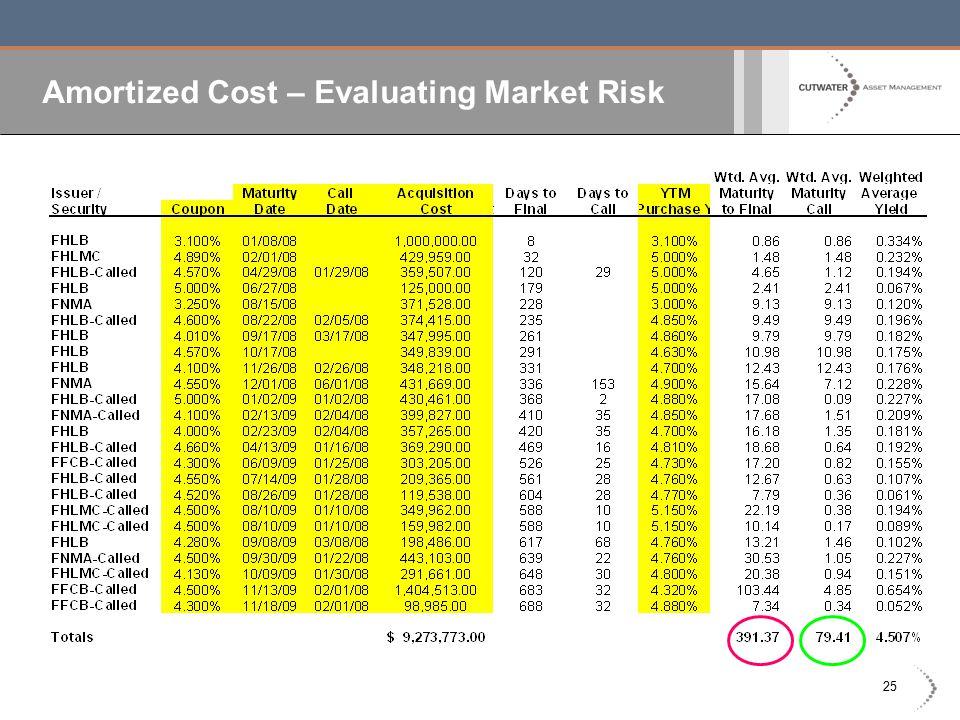 25 Amortized Cost – Evaluating Market Risk