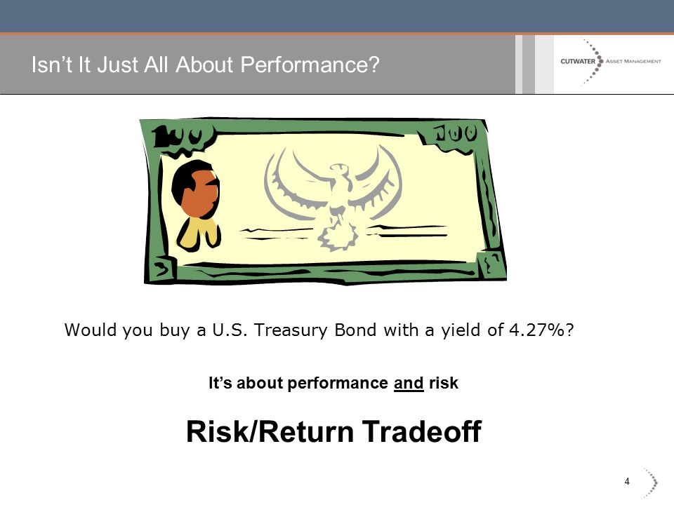 4 Isn't It Just All About Performance? Would you buy a U.S. Treasury Bond with a yield of 4.27%? It's about performance and risk Risk/Return Tradeoff