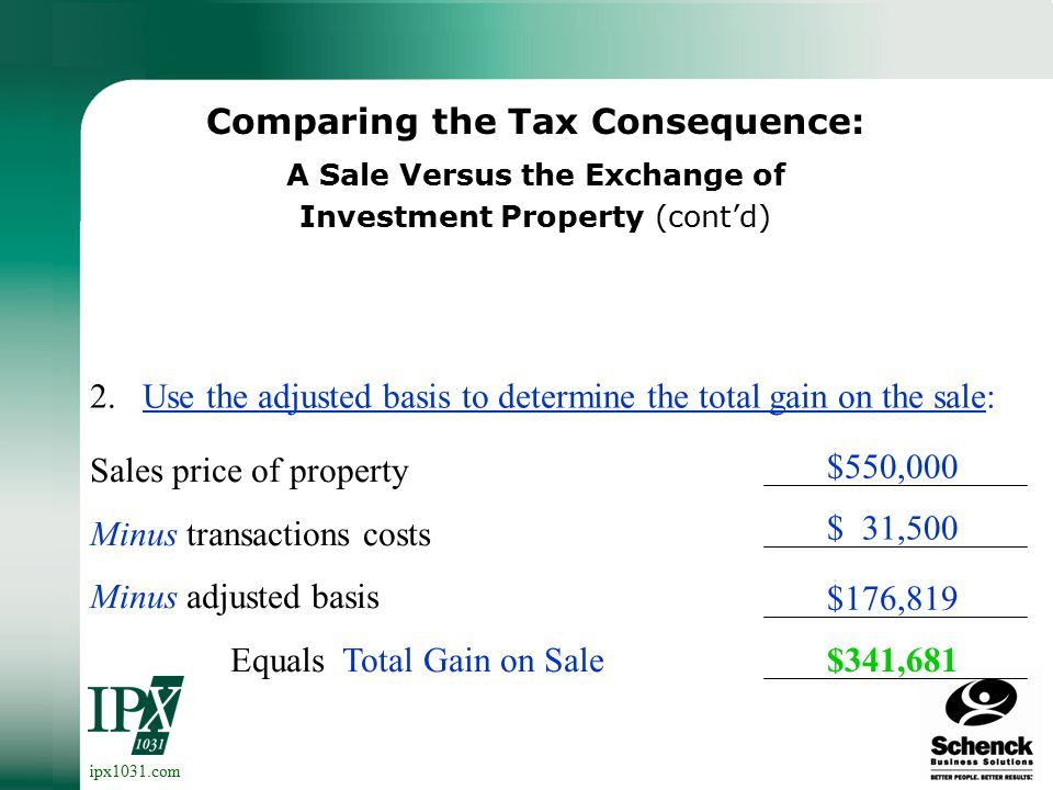 ipx1031.com Comparing the Tax Consequence: A Sale Versus the Exchange of Investment Property 1.