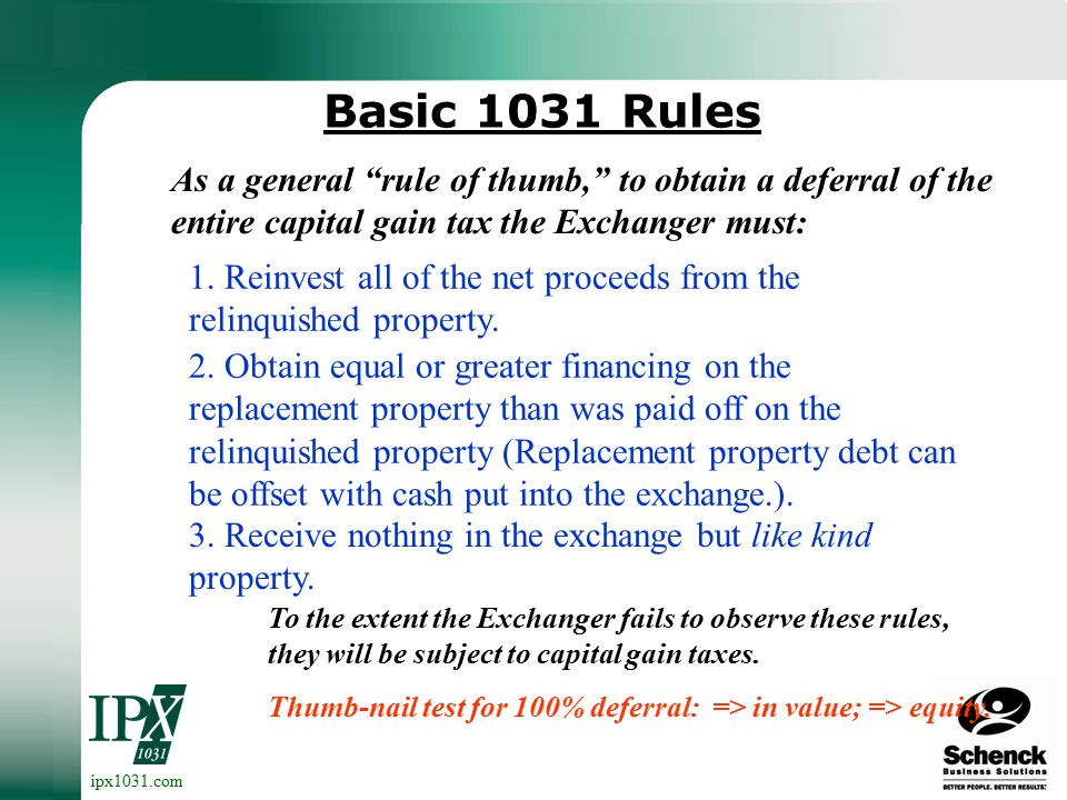 ipx1031.com Starker Case (1979) Following Starker vs. U.S., Congress, in 1984, Congress enacted rules which permit non-simultaneous exchanges under ce