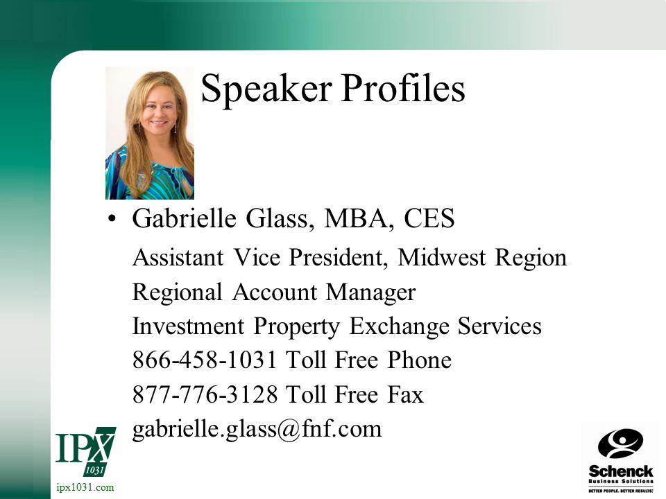 ipx1031.com Speaker Profiles Ken Zacharias, CPA Shareholder, Green Bay Schenck Business Solutions 920-436-8700 Phone 920-436-7808Fax Ken.Zacharias@schencksolutions.com