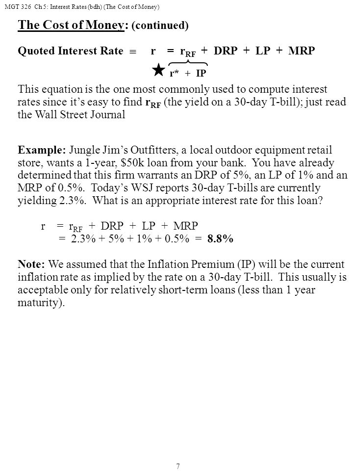 MGT 326 Ch 5: Interest Rates (bdh) (The Cost of Money) 18