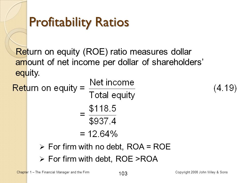 103 Chapter 1 – The Financial Manager and the FirmCopyright 2008 John Wiley & Sons Return on equity (ROE) ratio measures dollar amount of net income p