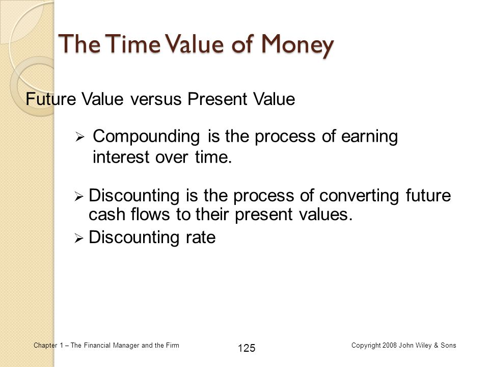 125 Chapter 1 – The Financial Manager and the FirmCopyright 2008 John Wiley & Sons The Time Value of Money  Discounting is the process of converting