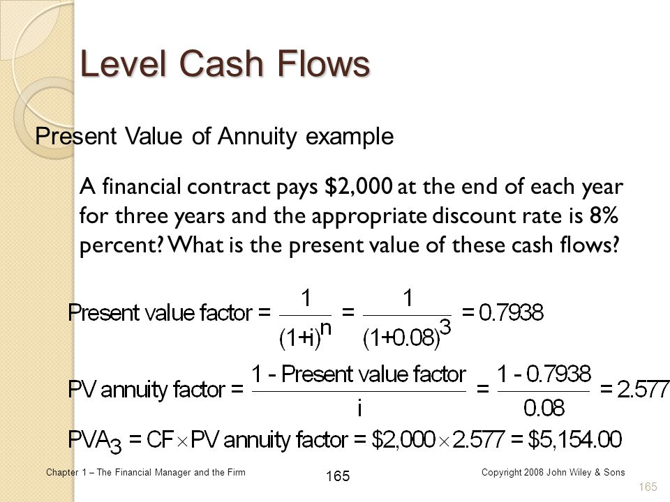 165 Chapter 1 – The Financial Manager and the FirmCopyright 2008 John Wiley & Sons 165 Level Cash Flows A financial contract pays $2,000 at the end of