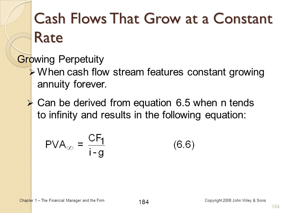 184 Chapter 1 – The Financial Manager and the FirmCopyright 2008 John Wiley & Sons Growing Perpetuity  When cash flow stream features constant growin