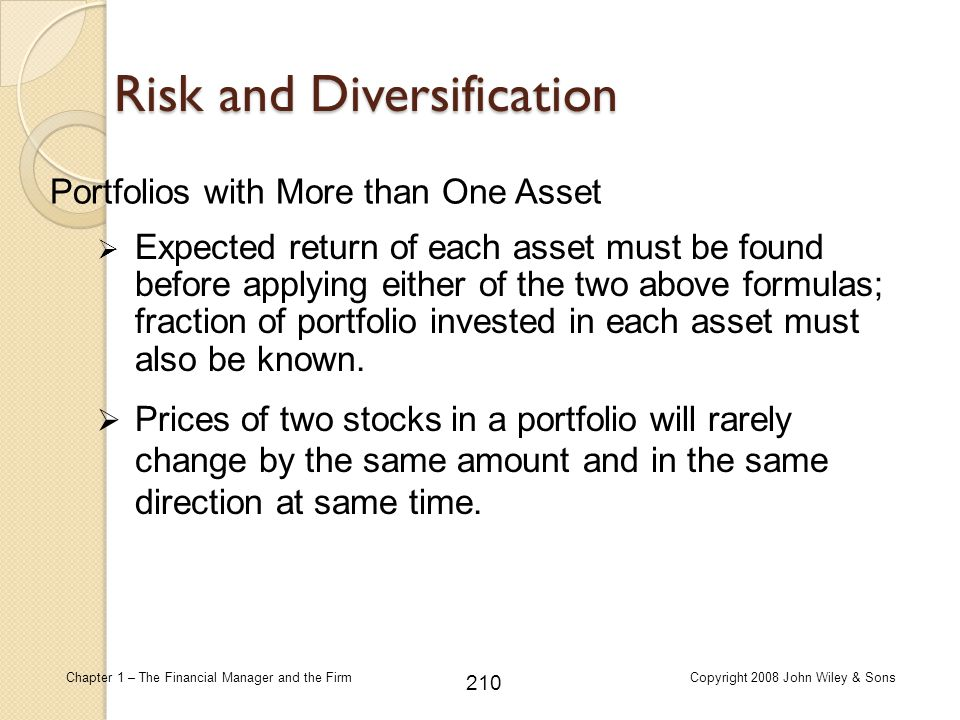 210 Chapter 1 – The Financial Manager and the FirmCopyright 2008 John Wiley & Sons Risk and Diversification  Expected return of each asset must be fo