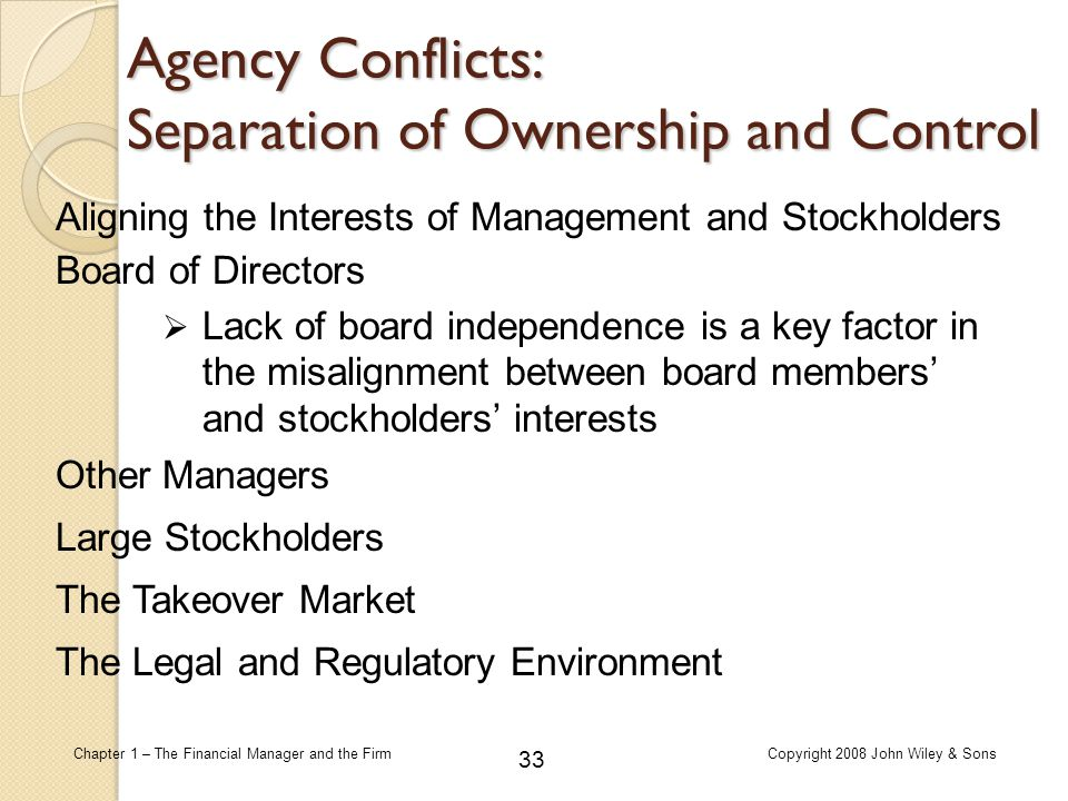 33 Chapter 1 – The Financial Manager and the FirmCopyright 2008 John Wiley & Sons Aligning the Interests of Management and Stockholders Board of Direc