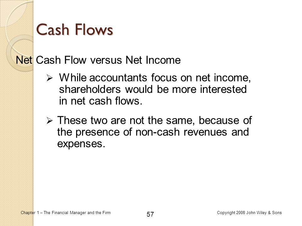 57 Chapter 1 – The Financial Manager and the FirmCopyright 2008 John Wiley & Sons Cash Flows Net Cash Flow versus Net Income  While accountants focus