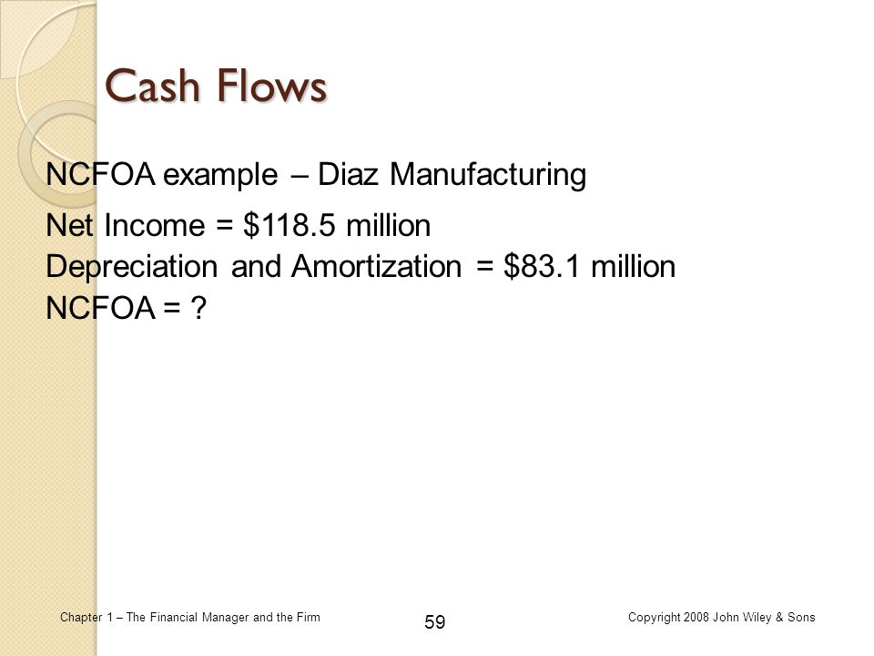 59 Chapter 1 – The Financial Manager and the FirmCopyright 2008 John Wiley & Sons Cash Flows NCFOA example – Diaz Manufacturing Net Income = $118.5 mi