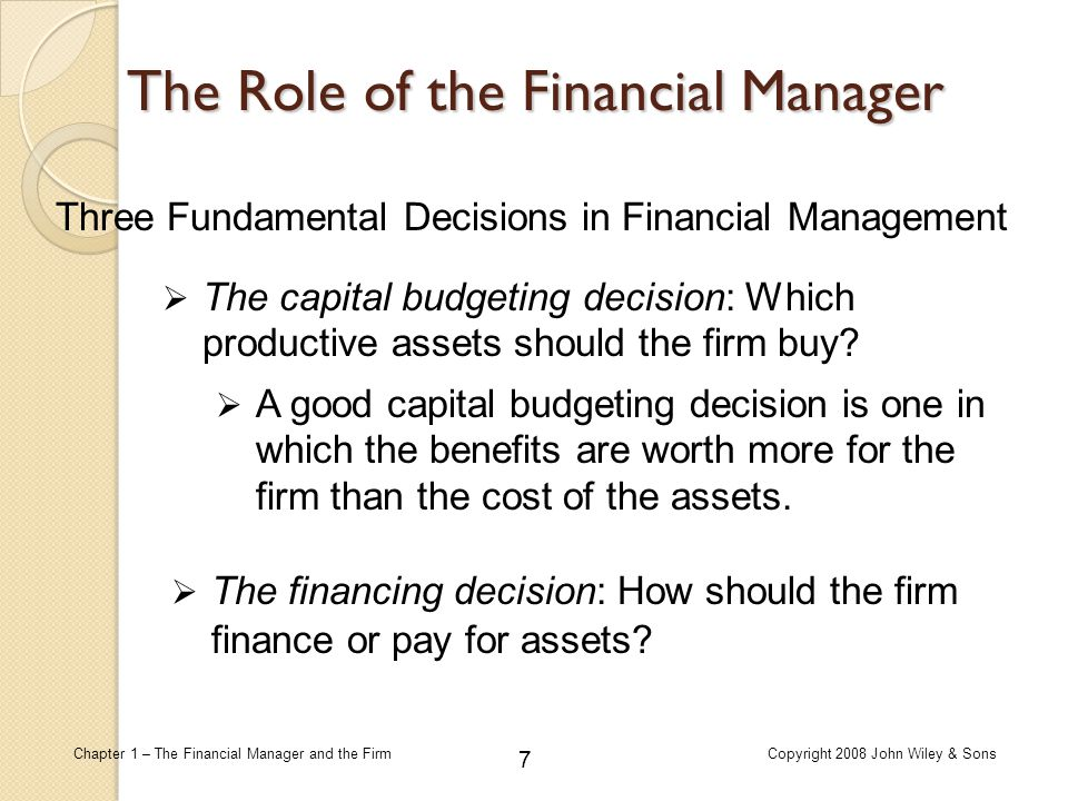 208 Chapter 1 – The Financial Manager and the FirmCopyright 2008 John Wiley & Sons Risk and Diversification Expected return of Portfolio Example You invested $100,000 in Treasury bills that yield 4.5 percent; $150,000 in Proctor and Gamble stock, which has an expected return of 7.5 percent; and $150,000 in Exxon Mobil Corporation stock, which has an expected return of 9.0 percent.